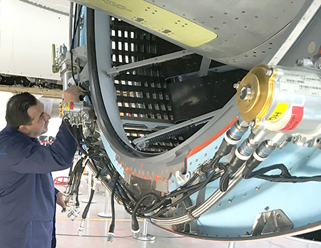 Installation of Nexcelle O-Duct thrust reverser for LEAP-1C jet engine, on first COMAC C919 jetliner
