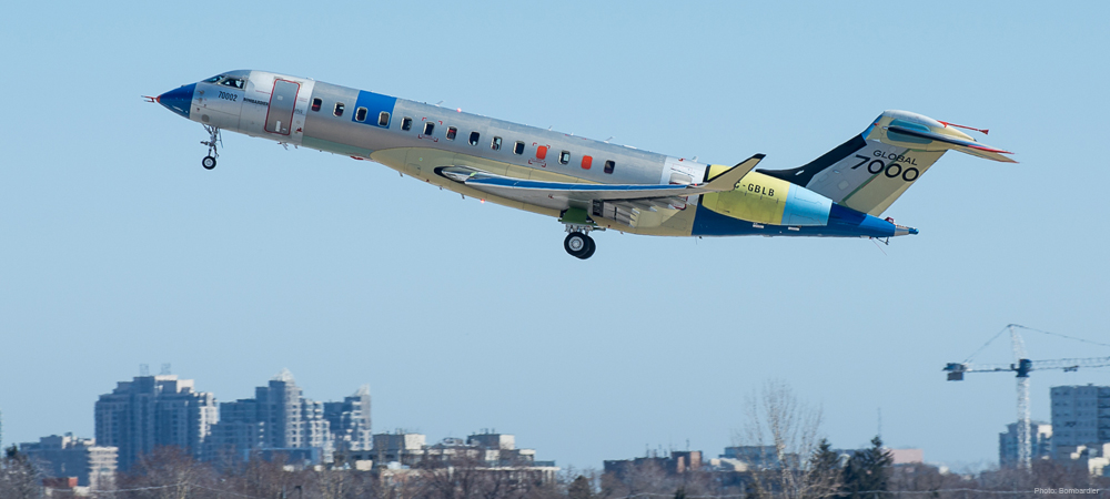 Second Bombardier Global 7000 Flight Test Vehicle's initial takeoff