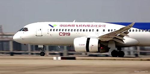 C919 jetliner during ground runs at Shanghai
